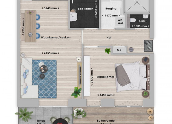 Abura 2-kamer appartement 60 m²