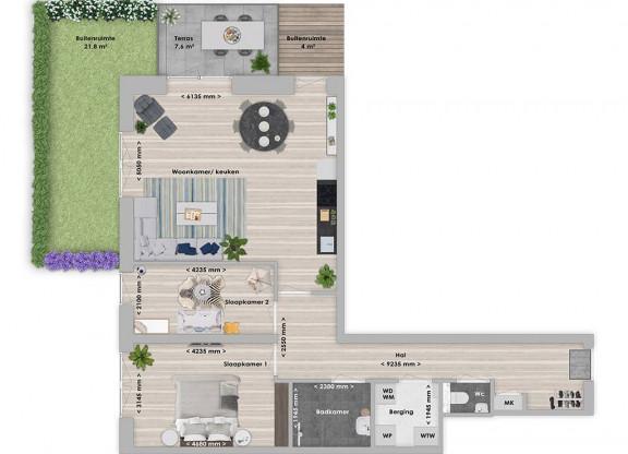 Essia 3-kamer appartement 83 m²