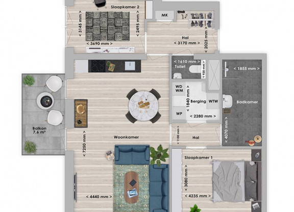 Naga 3-kamer appartement 79 m²