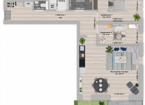Essia, 3-kamer 83 m²