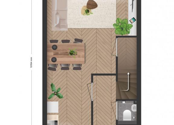 3 laagse tussenwoning met tuin en dakterras