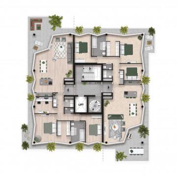 Plattegrond appartementen (2 app. per verdieping)