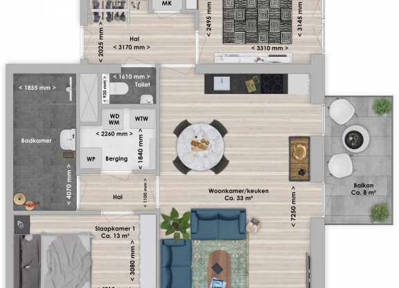 Naga, 3-kamer 79 m²