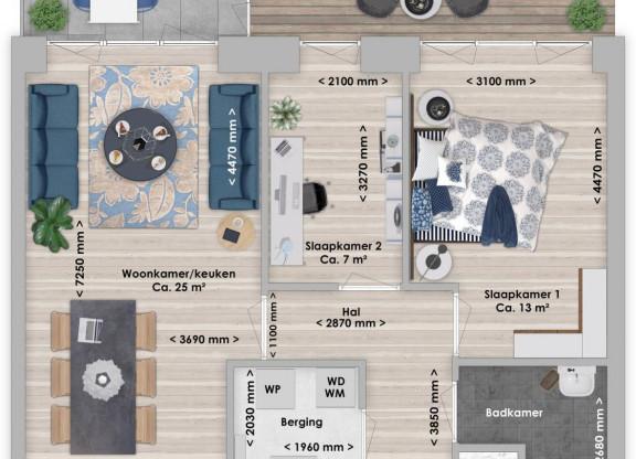 Balau, 3-kamer 65 m²