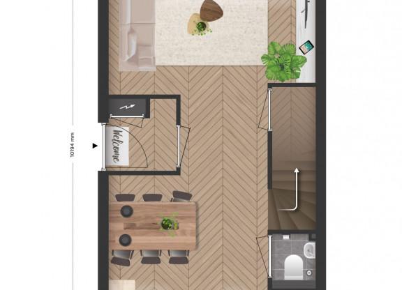 3 laagse hoekwoning met tuin en volledige verdieping