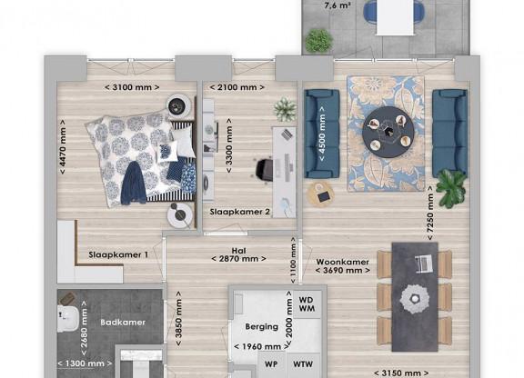 Balau 3-kamer appartement 65 m²