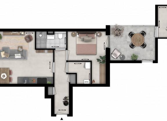 Tweekamer appartement| Type N